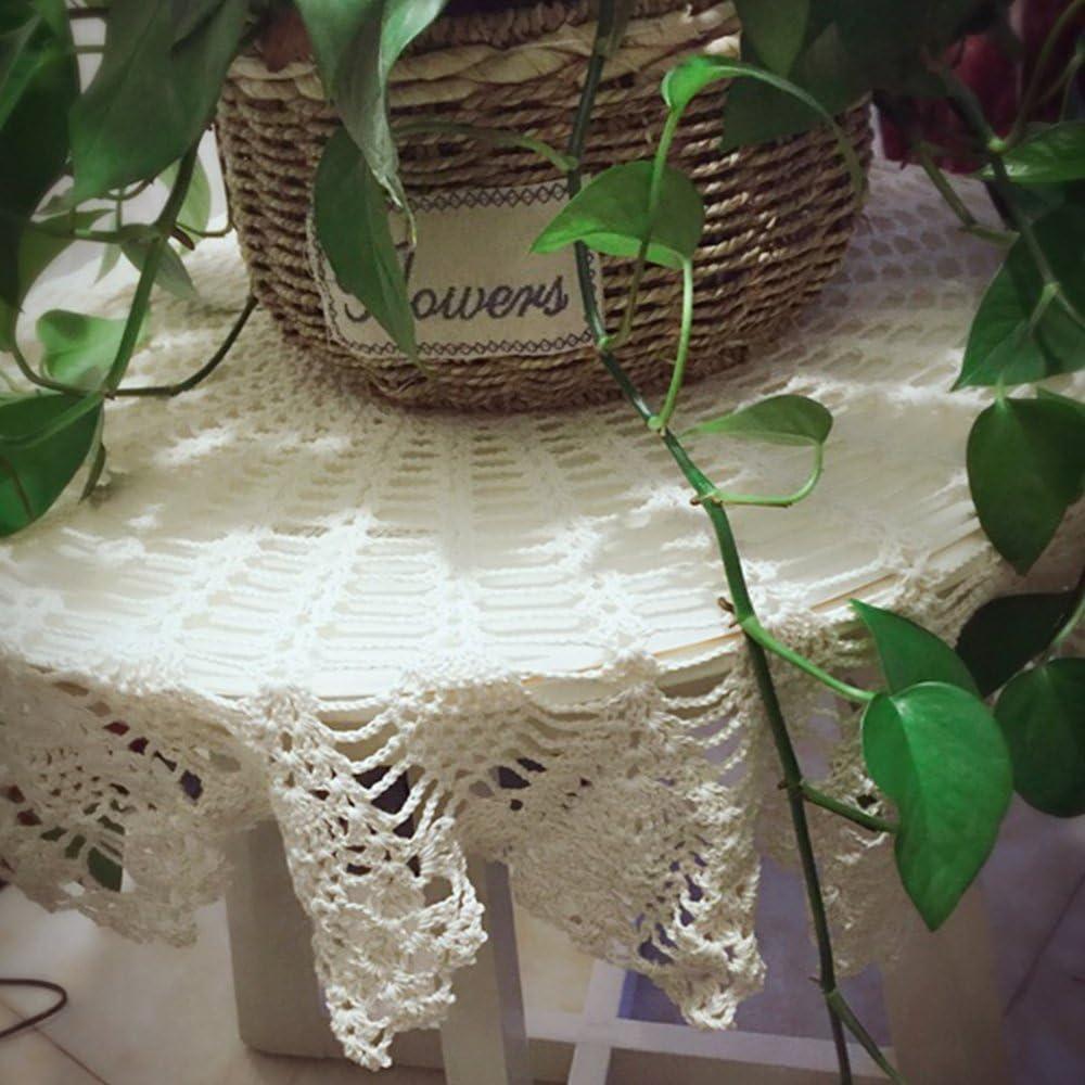 90cm round Yizunnu Nappe en dentelle ronde Vintage Faite /à la main En coton 90/cm Coton rose