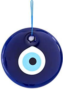 Erbulus 4.72'' Glass Large Blue Evil Eye Wall Hanging Ornament – Turkish Nazar Bead - Home Protection Charm - Wall Decor Amulet in a Box