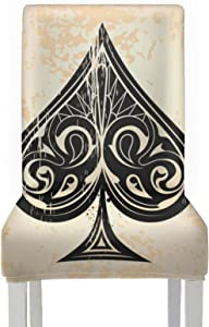 AQQA ChairsSeatCovers Skeleton of Spade Trump in Poker ChairsSeatCovers Stretch Removable Washable DecorativeDiningChairCovers for Home Kitchen Party Restaurant Wedding