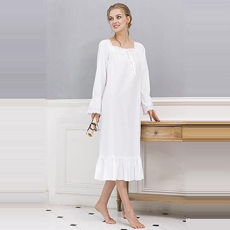 Albornoz de LUJO Albornoz de princesa de las mujeres Vestido de dormir de algodón Vestido de ...