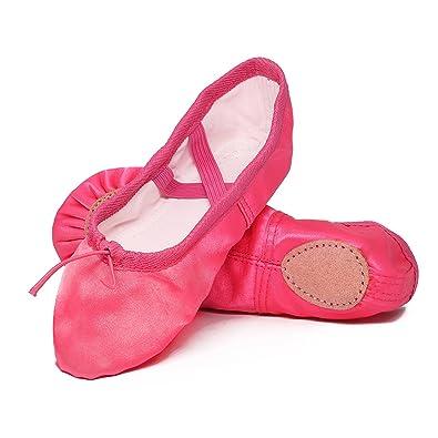 bebb60b27513a APTRO Ballet Shoes Split Sole with Satin Gymnastics Dance Shoes ...