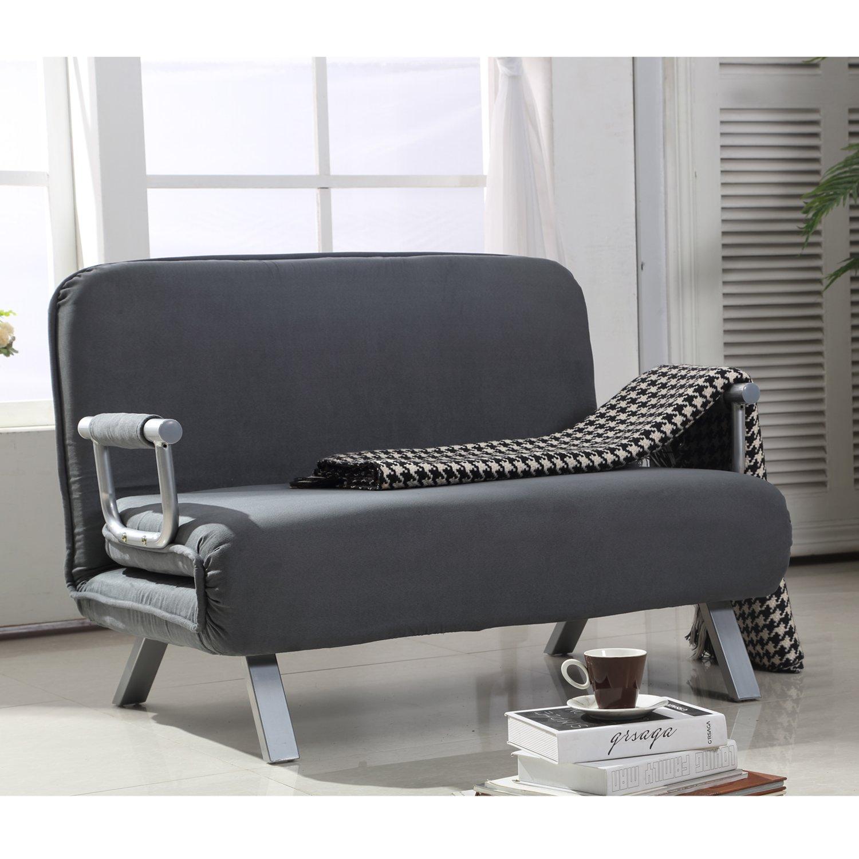 Amazon Hom Suede Fabric Lounge Futon Sofa Chair Gray