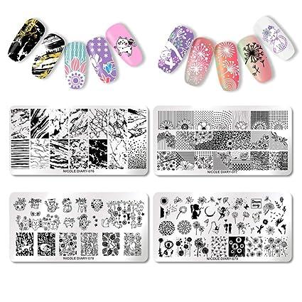 NICOLE DIARY 4Pcs Placas de estampado de uñas Flores Geometría Gatos ...