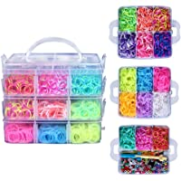Rainbow Bands Kit with 4500 Rubber Bands 15 Colors 6 Small Hook 48pcs S-Clips 2 Loom Monster Tail 50 Beads 6 Pendants and Great Storage Case for Kids DIY Toy Educational Game (Fairy)