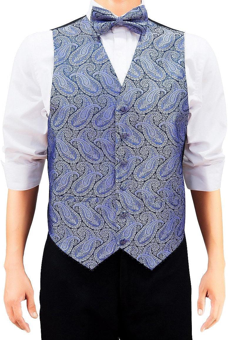 Retreez Men's Paisley Woven Vest w/Tie, Bow Tie, Pocket Square 4 pc Gift Set