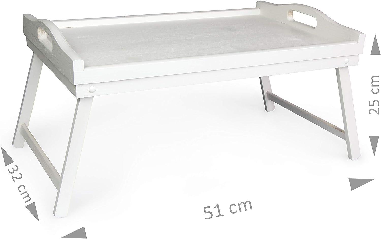 51 x 32 x 25 cm LAUBLUST Serviertablett in Gr/ö/ße L Betttablett mit Klappbeinen und Griffen Kiefer Wei/ß ca