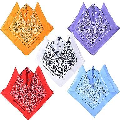 BETESSIN 5pcs Pa/ñuelos Bandanas Paisley para Cabeza Pelo Cuello Mu/ñecas Multicolores para Mujer y Hombre 100/% Algod/ón