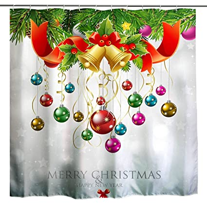 Christmas Shower Curtains Amazon.Broshan Christmas Shower Curtain Set Xmas Holiday Colorful Multi Color Balls In Pine Tree Twig Sparkle Art Printing Polyester Waterproof Fabric