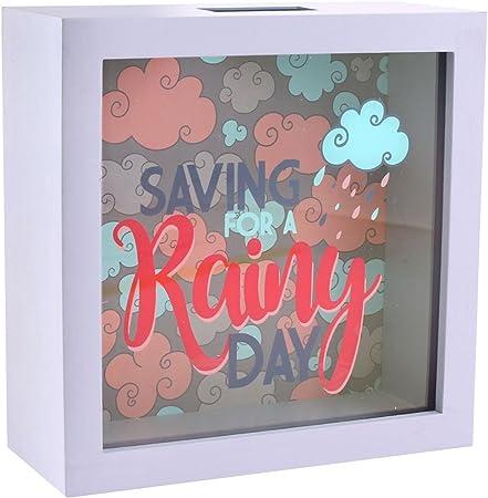 Ahorro para A Rainy Día fondo Dinero Caja Regalo Con Cristal Frontal: Amazon.es: Hogar