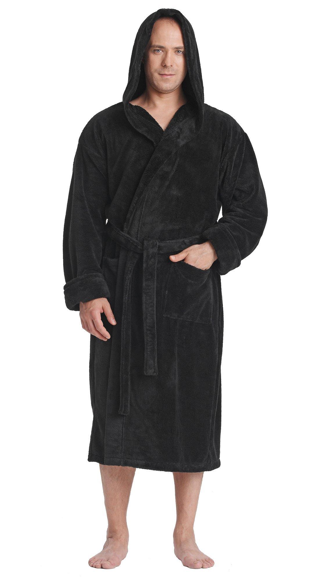 Arus Men's Hooded Satin Touch Fleece Bathrobe Turkish Soft Plush Robe Black XXL