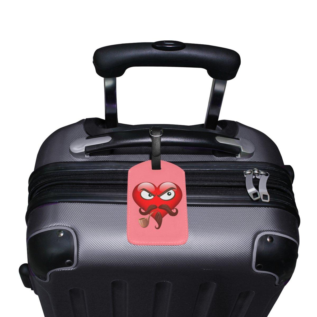 Saobao Travel Luggage Tag Tobacco Pipe Emoji PU Leather Baggage Suitcase Travel ID Bag Tag 1Pcs