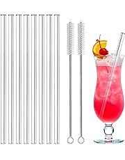 MELLIEX Glas Strohhalm Wiederverwendbar Glas Trinkhalme Eco Nachhaltige Gebogene Strohhalme für Cocktail Smoothie Tee