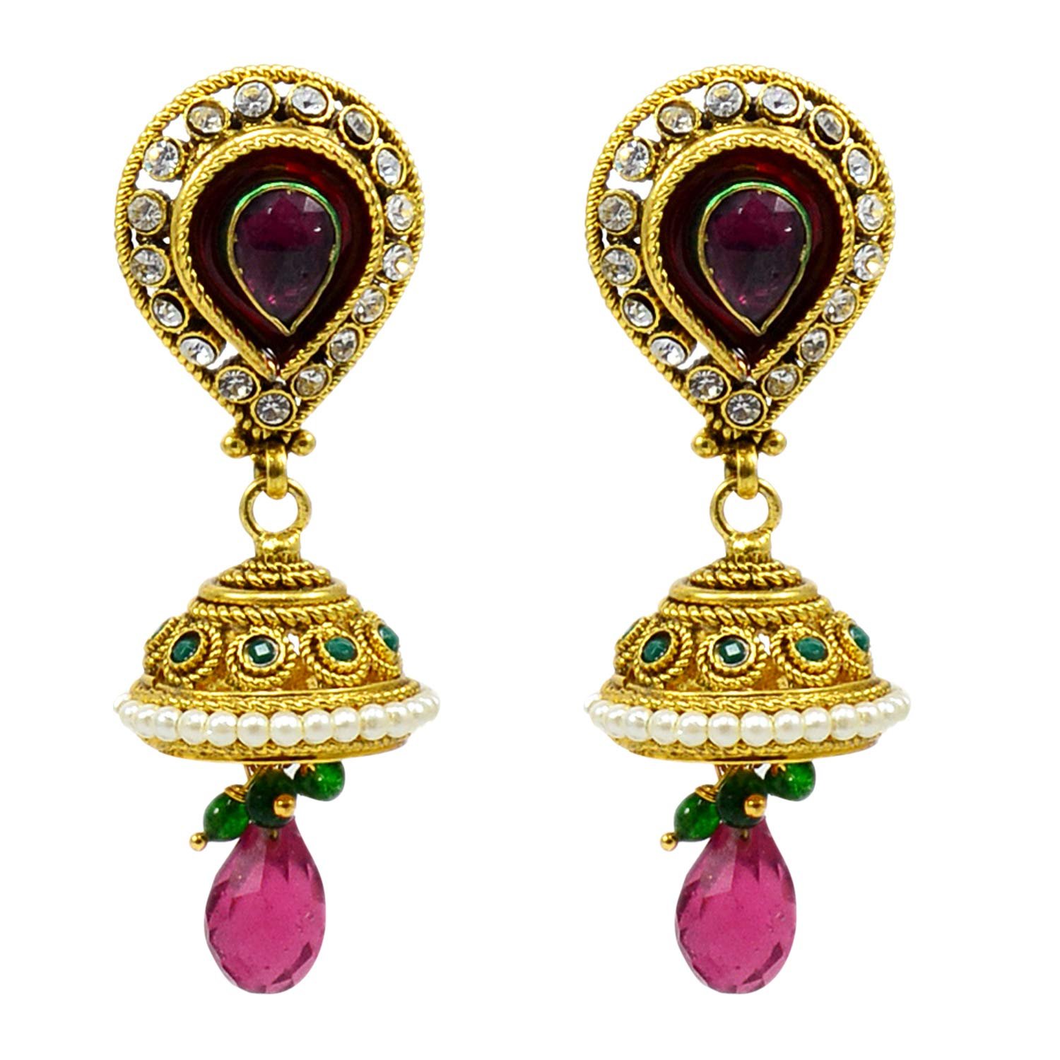 Created Kundan Meena Gold Plated Dangle Earring PG-109532 Saamarth Impex Emerald Ruby