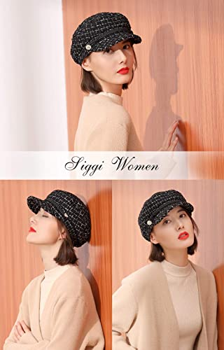 22b751f3fe781 Ladies Houndstooth Baker Boy Cap Newsboy Casual Peaked Beret Elegant Winter  Hats for Women Adjustable(2 Sizes