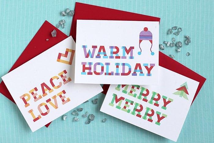 amazon com plaid holiday cards variety pack of 12 handmade