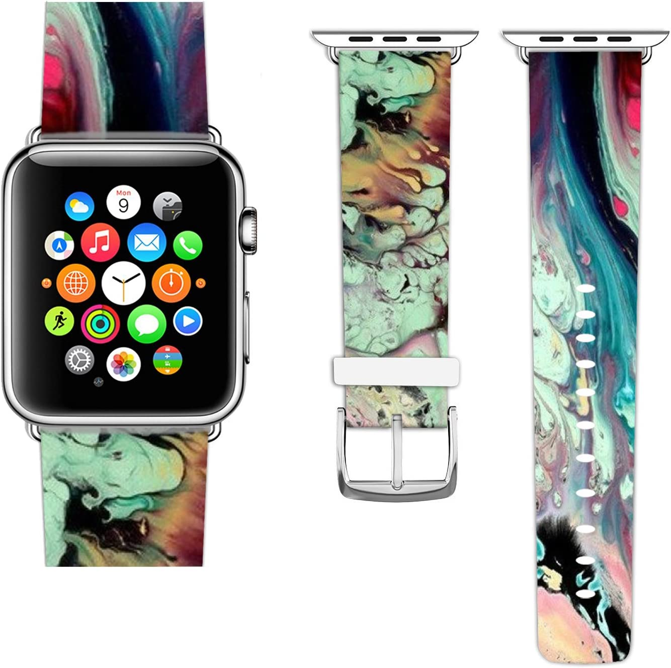Ecute Compatible with Apple Watch Band 38mm 40mm, Soft Leather Band Strap Compatible with iWatch Series 6/5/4/3/2/1 - Flowing Marble