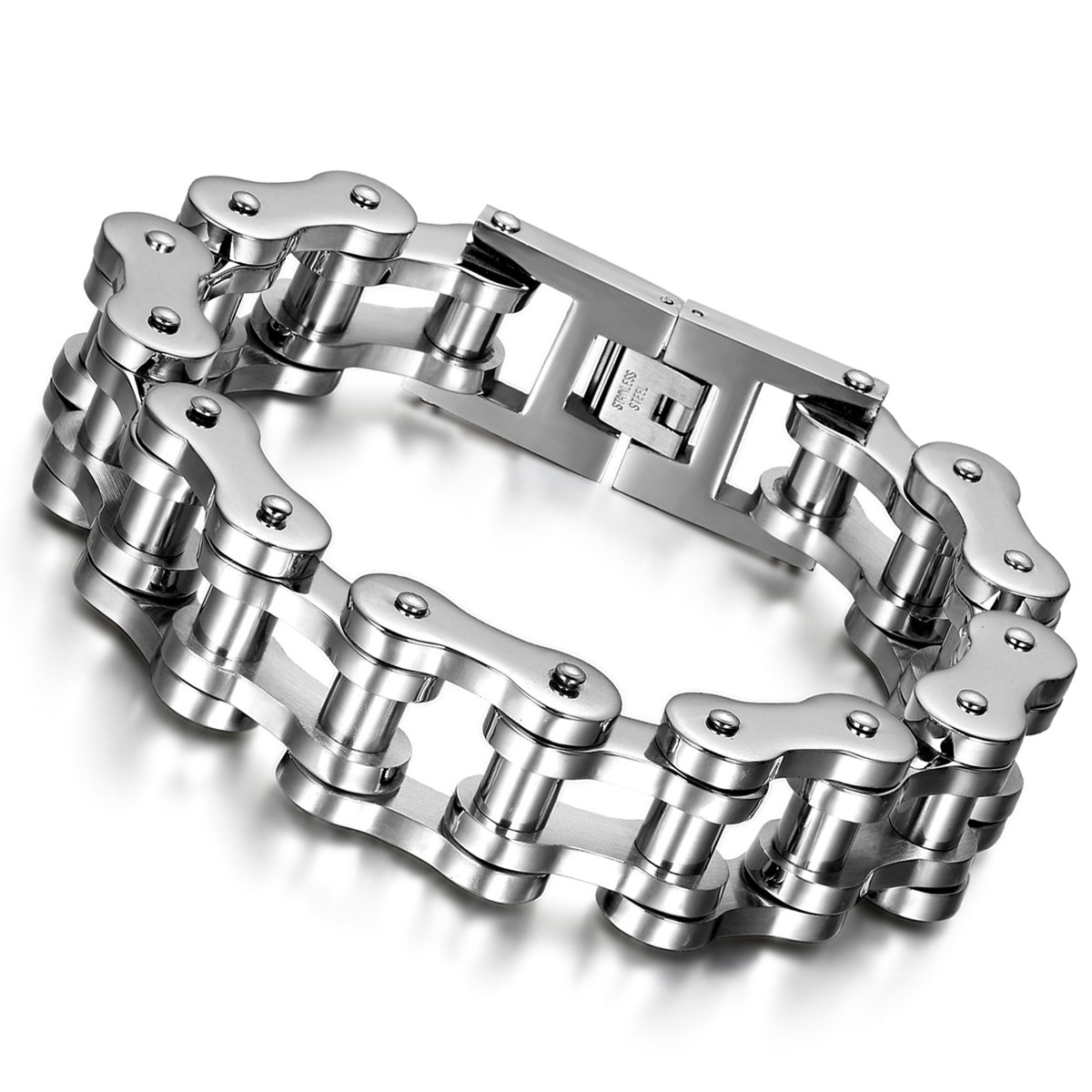Cupimatch Mens Heavy Gothic 18MM Wide Biker Stainless Steel Motorcycle Chain Bracelet 9.1 C002058