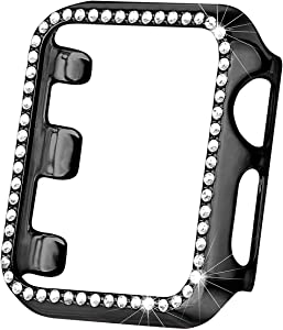 Hapitek Bling Case Compatible Apple Watch Band 38mm 40mm 42mm 44mm, Full Cover Bumper Protective Frame Screen Protector for Iwatch Series 4 3 2 1 (Black-38mm)