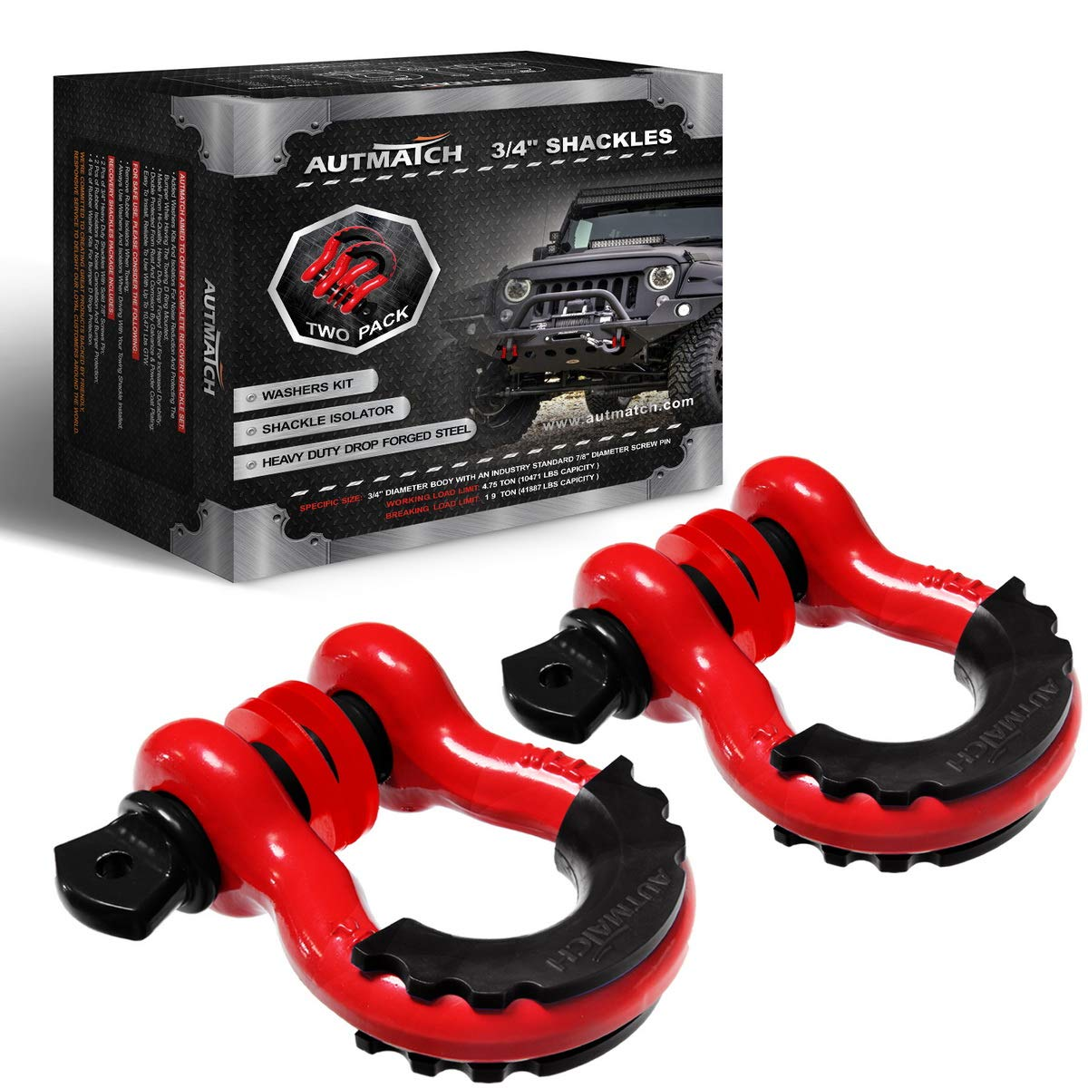 AUTMATCH Shackles 3/4'' D Ring Shackle (2 Pack) 41,887Ib Break Strength with 7/8'' Screw Pin and Shackle Isolator & Washers Kit for Tow Strap Winch Off Road Towing Jeep Vehicle Recovery Red & Black