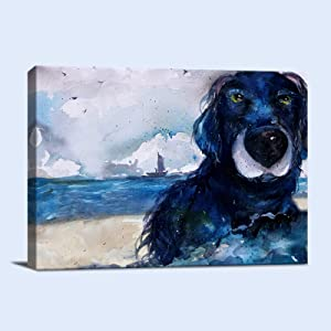 Dog Wall Art for Bathroom Blue Abstract Painting Prints for Wall Hand Painted Cute Animals Wall Decor Beach Landscape Canvas Modern Artwork for Living Room Bedroom and Office Ready To Hang 12x16 inches