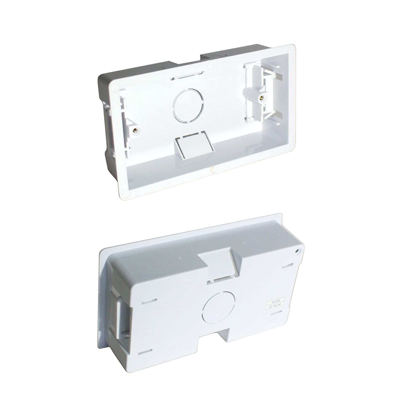 Loops 35mm Deep Double/Twin Plastic Dry Lining Back Box - 1 Gang Wall Flush Mount Pattress 863