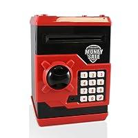 Adornlife Money Banks ATM Tirelire Coffre-Fort Smart Voice Prompt Tirelire pour Les Enfants / Cadeau de Noël (Noir / Rouge)