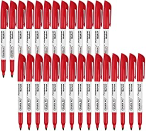 Permanent Markers,Shuttle Art 30 Pack Red Permanent Marker set,Fine Point, Works on Plastic,Wood,Stone,Metal and Glass for Doodling, Marking