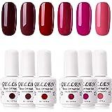 Gellen Gel Nail Polish Set - Glamour Reds Magenta Maroon Trend Nail Gel 6 Colors - Soak Off Gel Polish Nail Art Home Gel…