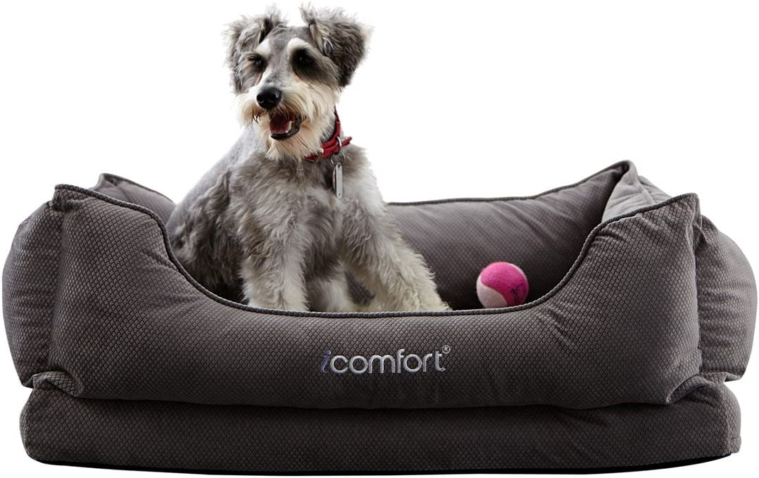 iComfort Cuddler Pet Bed with Cooling Comfort Gel Memory Foam, Medium, Gray