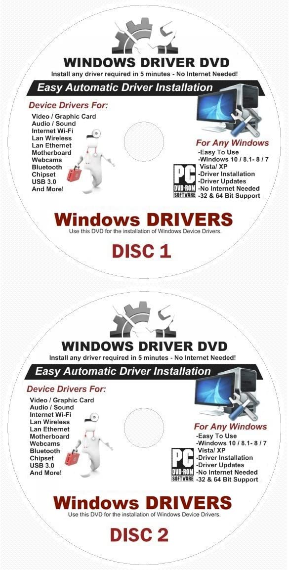 2019 Automatic Driver Recovery [Disc 1 & Disc 2] Drivers for Windows 10, 8.1, 7, Vista, XP Supports Dell HP Gateway Toshiba Gateway Acer Asus Samsung MSI Lenovo Sony IBM Compaq eMachines ⭐️⭐️⭐️⭐️⭐️