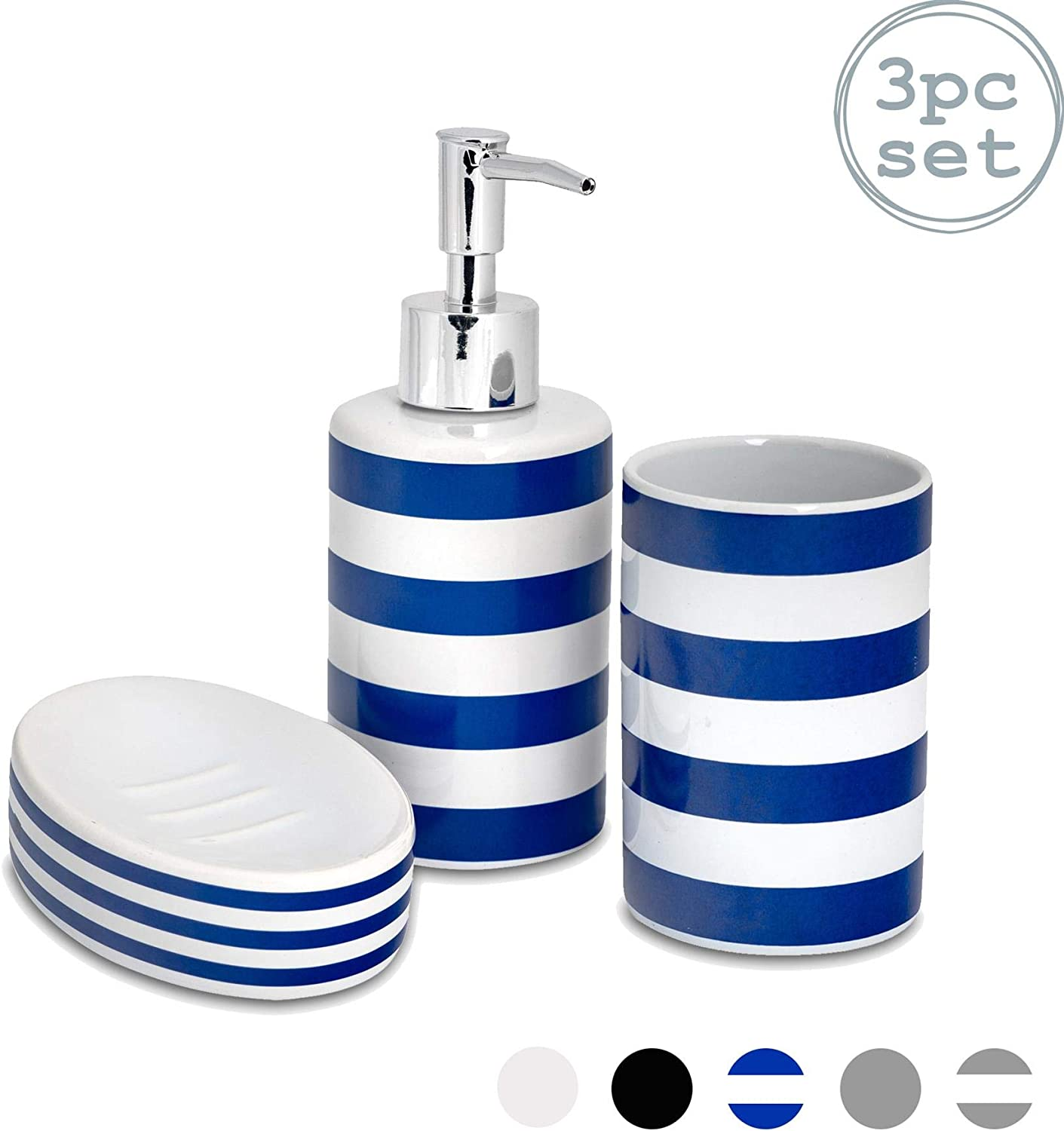 White Glossy Sink Set…Ceramic Soap Dish...Cup /& Toothbrush holder   New Stock