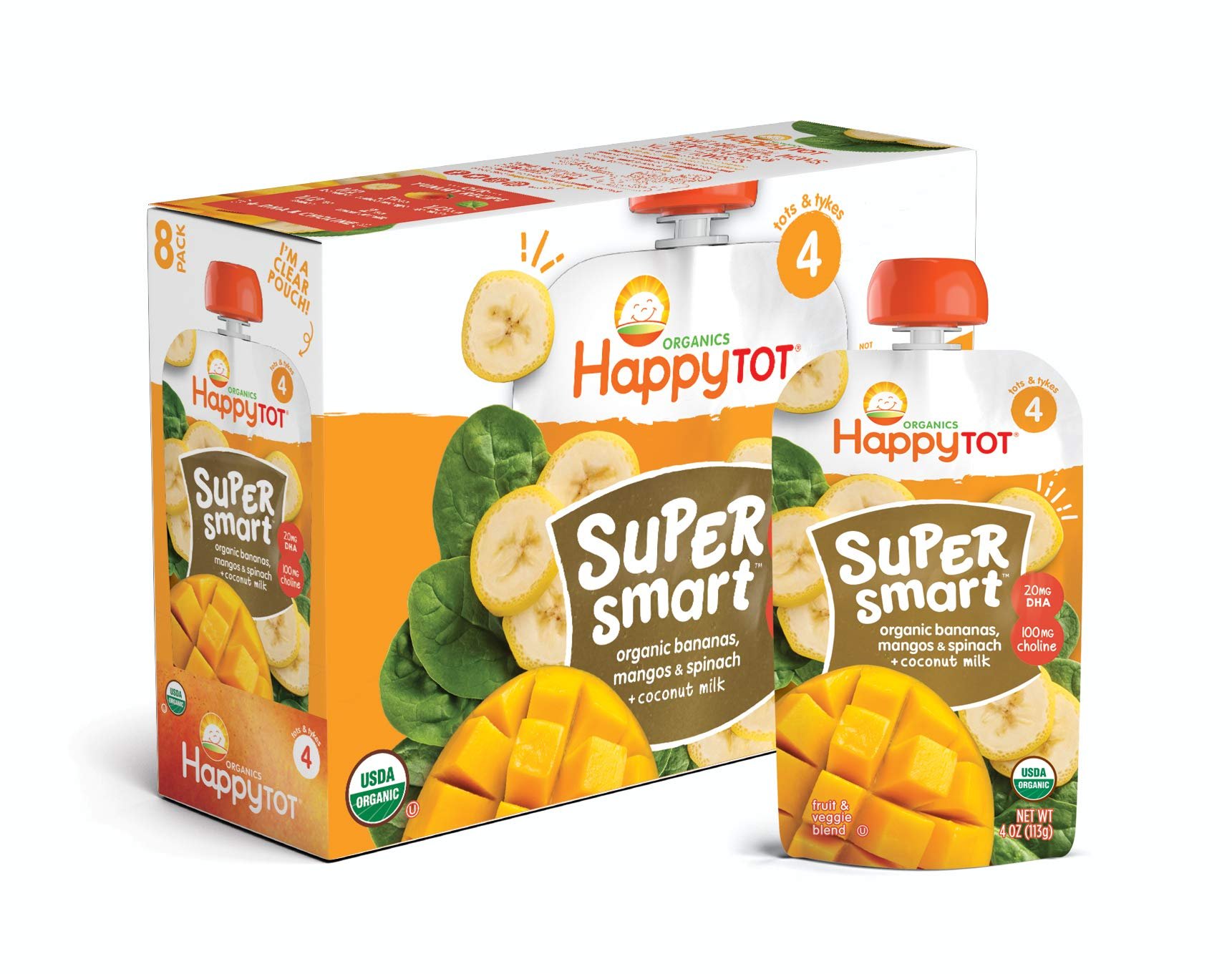 Happy Tot Organic Stage 4 Super Smart Organic Toddler Food Bananas/Mangos/Spinach Plus Coconut, 4 Ounce Pouch (Pack of 16) (Packaging May Vary) by Happy Baby