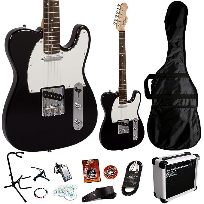 Lindo - Set de guitarra el?ctrica Tele (con amplificador de 15 W y 11 accesorios adicionales): Amazon.es: Instrumentos musicales
