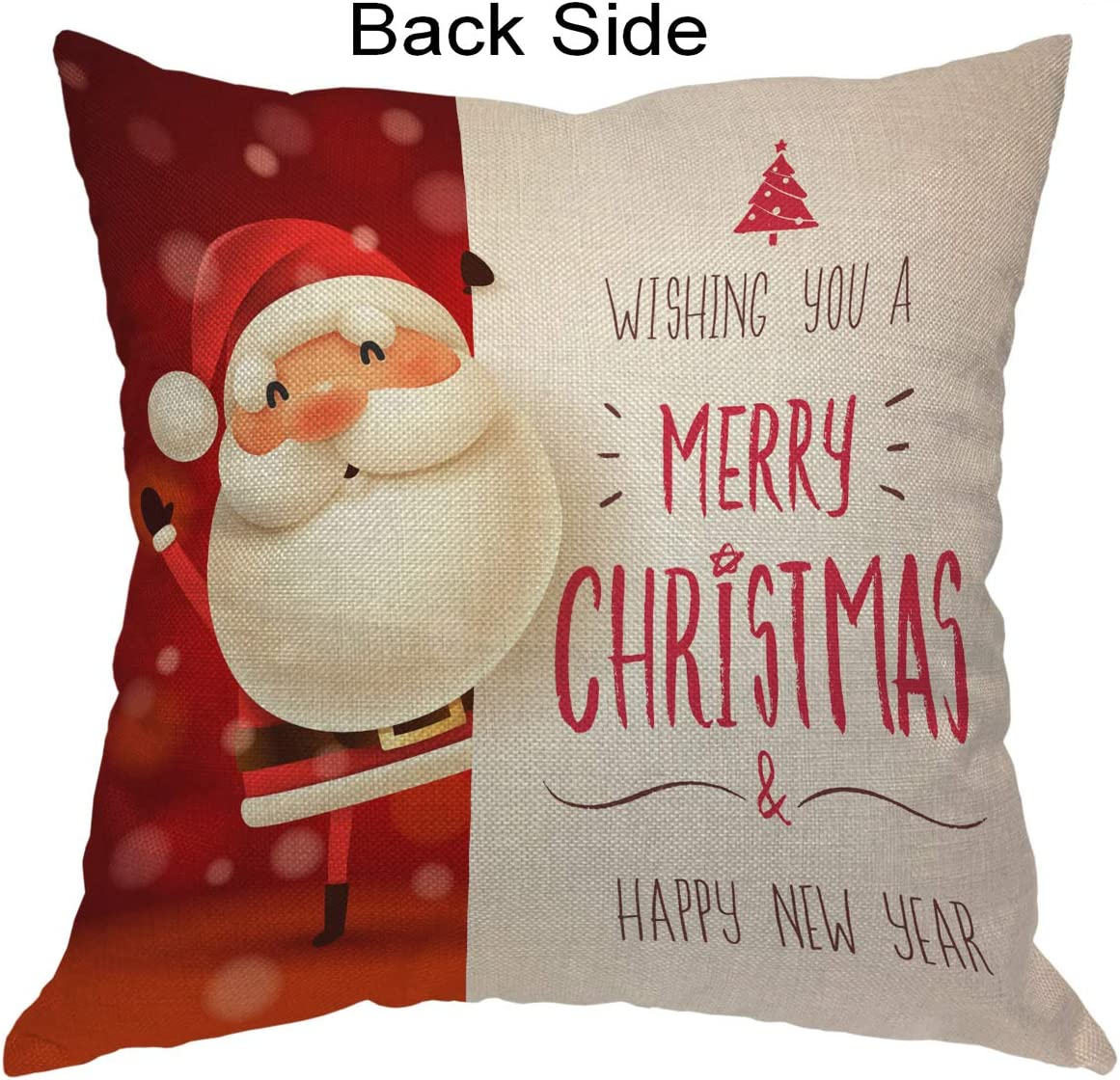 Amazon Com Moslion Quote Pillow Cover Santa Claus Merry Christmas Happy New Year Word Throw Pillow Case 18x18 Inch Cotton Linen Square Cushion Decorative Cover For Sofa Bed Red Home Kitchen