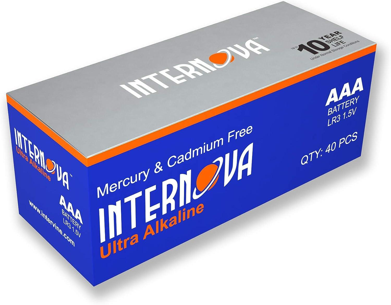 Internova Ultra Alkaline AAA Batteries 40 Pack Triple A LR3 1.5V Cell High Performance
