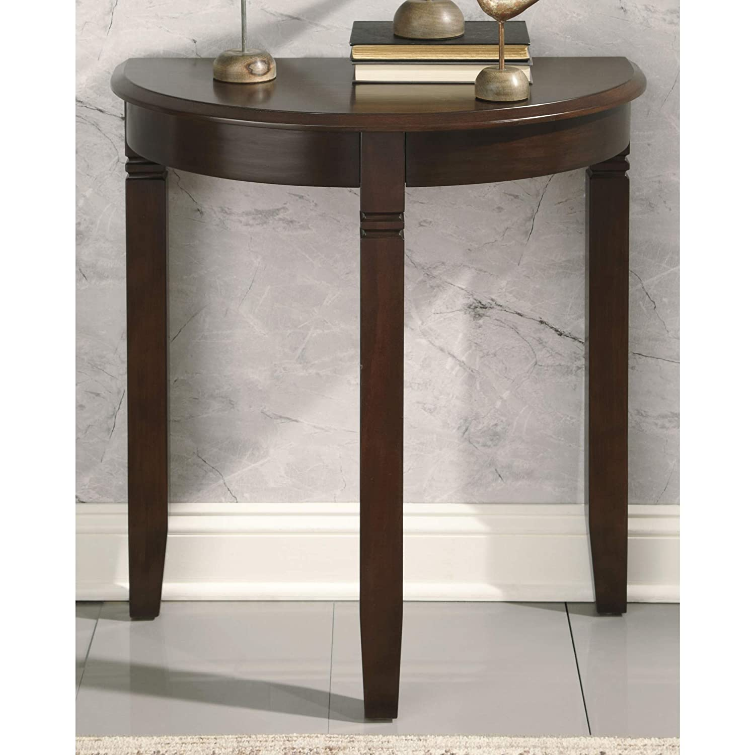 Ashley Furniture Signature Design Birchatta Console Table Moon-Shaped Distressed Antiqued White Finish A4000055