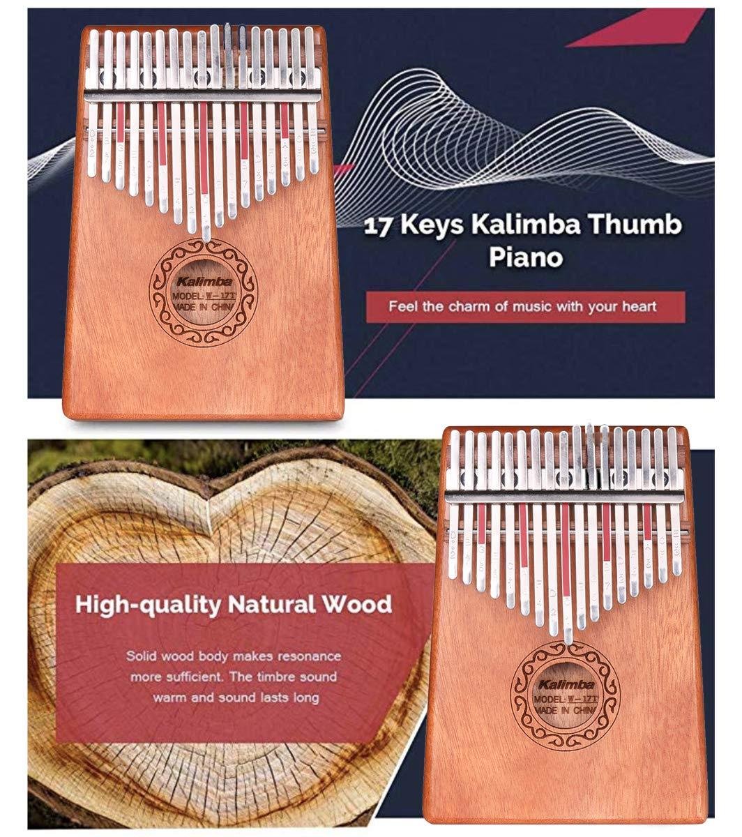 Kalimba,17 chiavi Thumb Piano costruisce,Thumb Piano 17 tasti,Pianoforte da pollicemartello di accordatura e istruzioni di studio.