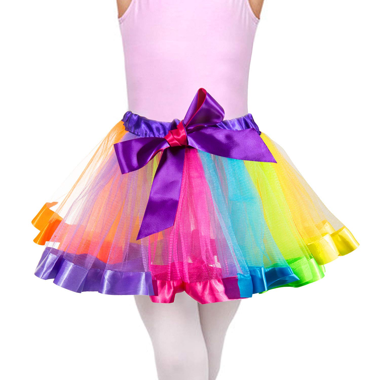 4-6 Anni Wolintek Bambine Rainbow Tutu Gonna Ragazze Layered Fancy Dress,Vestito da Ballo Ruffle Tiered Partywear