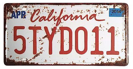 Eureya California 5TYD011 Placa de Licencia para Auto para ...