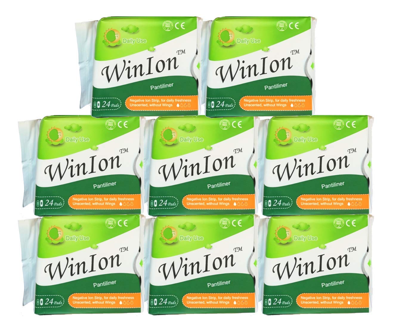 8 Packs (192 Pads) Winalite Winion Pantiliner with Anion Strip