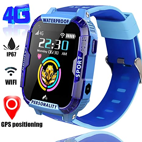 4G Smart Watch for Kids GPS Tracker - Boys Girls Smartwatch Phone with SOS Digital Watch Wi-Fi Calling Voice Video Chat Camera Alarm Clock Pedometer ...