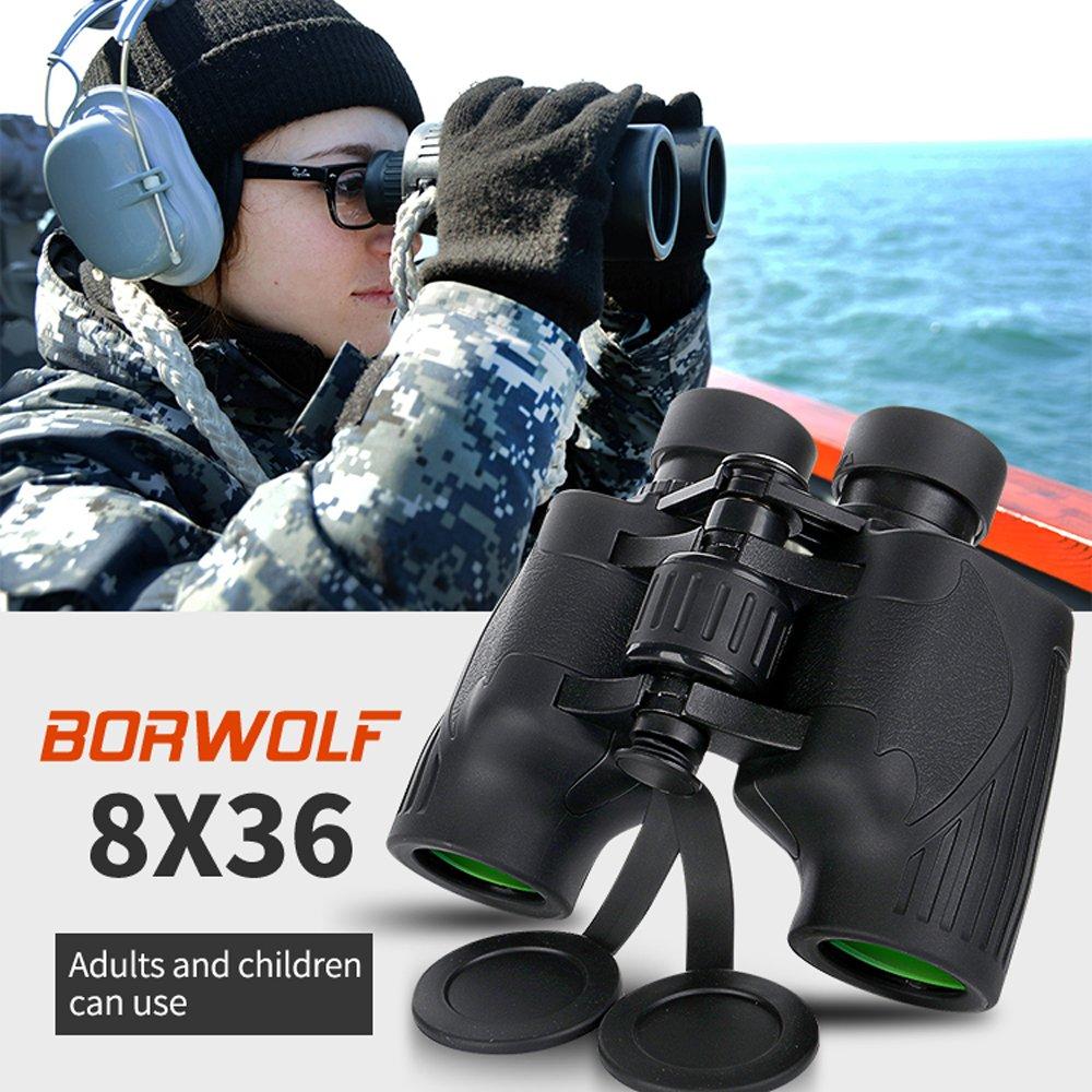 BORWOLF 8x36 Porro Impermeable Binocular Telescopio para viajar de caza observaci/ón de aves al aire libre