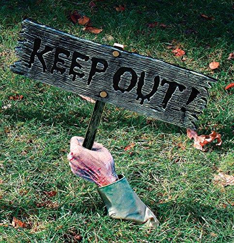 Fun World Unisex-Adult's Keep Out Halloween Sign, Multi Standard -