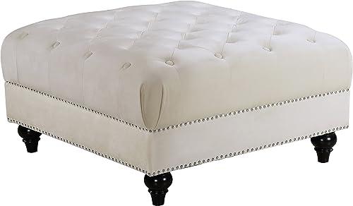 Best ottoman chair: Meridian Furniture Sabrina Collection Modern | Contemporary Velvet Upholstered Ottoman