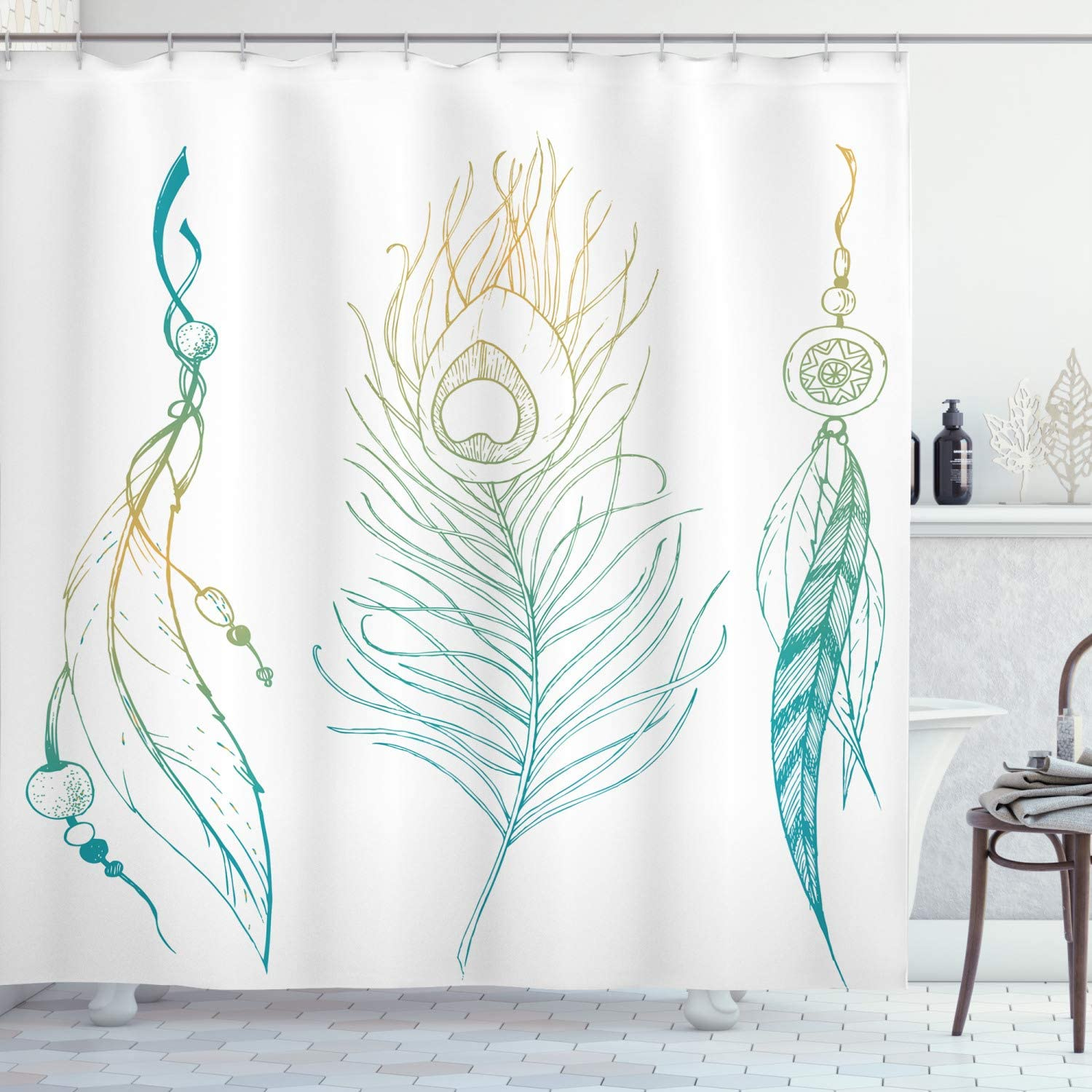 Ambesonne Peacock Shower Curtain, Aesthetic First Nations Feather and Peacock Tail Traditional Design Print, Cloth Fabric Bathroom Decor Set with Hooks, 70