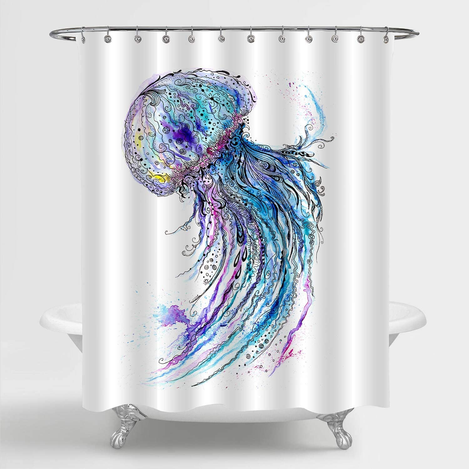 """MitoVilla Watercolor Jellyfish Shower Curtain, Deep Sea Wildlife Medusa Artwork Bathroom Accessories for Tropical Marine Themed Home Decor, Ocean Gifts for Women, Men and Kids, Blue, 72"""" W x 72"""" L"""