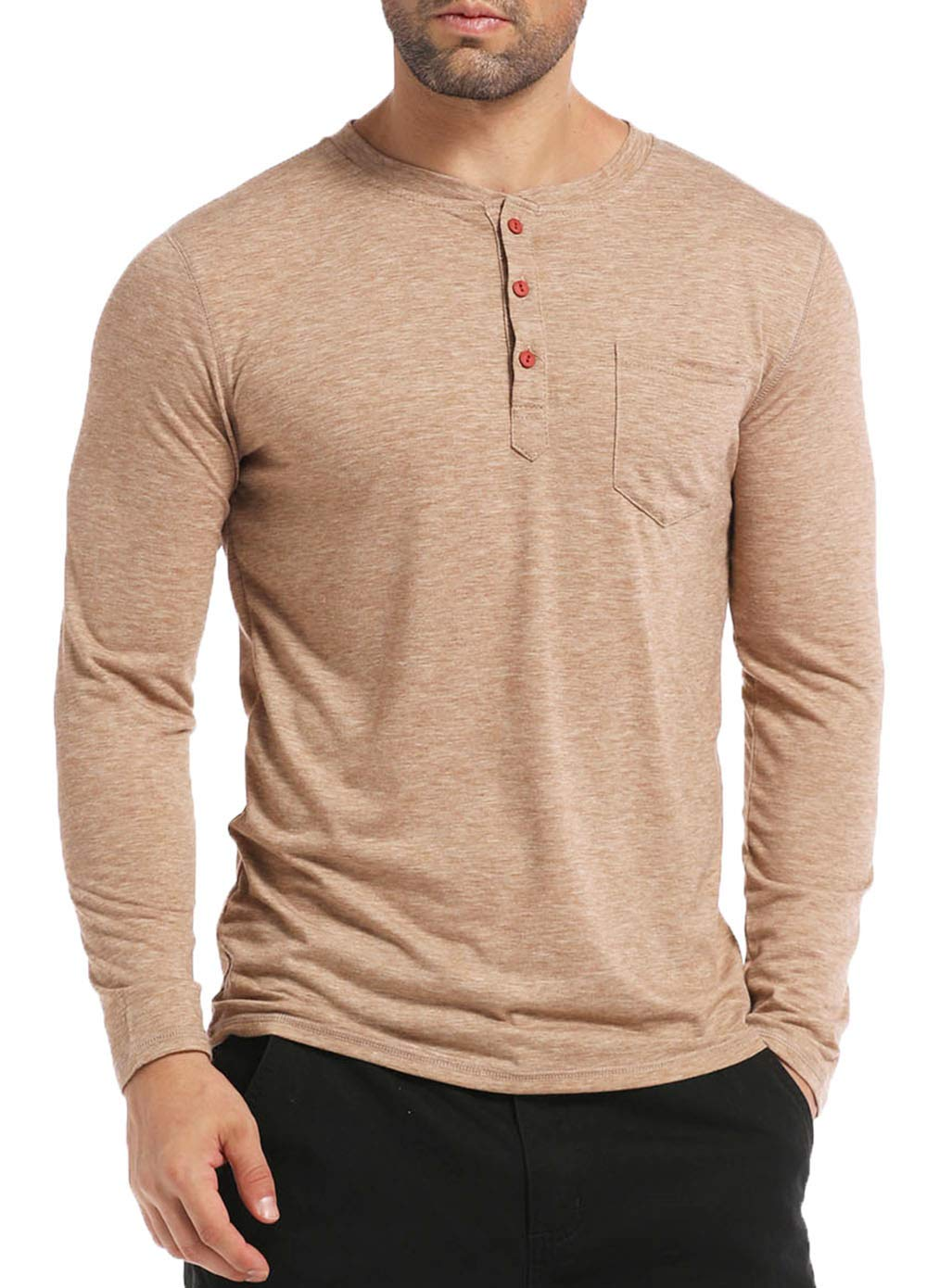 BABEIYXM Men's Henley Long Sleeve Shirts Soild Tee Shirts Front Pocket Tops Basic T-Shirts,Khaki,S
