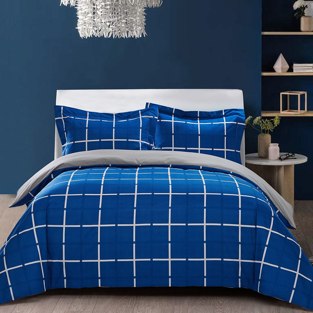 Top Finel Twin Bedding Set Duvet Cover 1 Pillowcase Silky Soft Wrinkle & Fade Resistant Breathable DoubleSide Printed,2Pcs,Blue Stripe& Gray