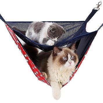 Arola Hamaca Colgante para Gatos, 2 Niveles de Historia, Cómoda Hamaca Colgante para Mascotas, Cama para Gatos/Perros Pequeños/Conejos/Otros Animales ...