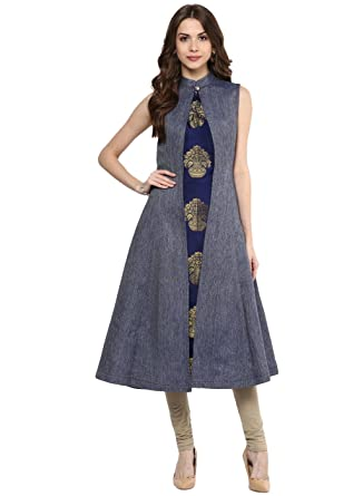 97421066521 Amazon.com: Aahwan Indian Kurtis for Women Blue Denim and Taffteta Silk  A-line Sleeveless Calf Long Dress: Clothing